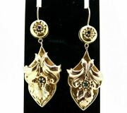 Earrings Antique Bourbon Kings Gold Solid 9k Drop Fine Ottocento With Sapphires