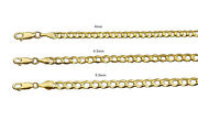 14k Solid Yellow Gold Flat Curb Italian Link Chain Necklace 4mm-5.5mm Sz 16-30