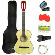 Acoustic Classic Guitar 38 With Case-pick-tuner-strap-extra Strings And Lessons