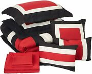 Chic Home Duke 10 Pieced Color Block Bed In A Bag Comforter Sheet Set Queen Re