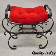 Vtg Gothic Italian Hollywood Regency Black Wrought Iron Curule Bench Seat Chair