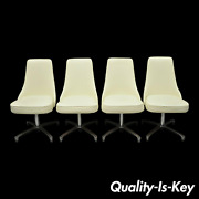 Chromcraft Space Age Mid Century Chrome Swivel White Dining Chairs - Set Of 4