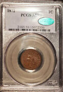 1872 1c Au58bn Pcgs/cac-only 192 Finer Indian Head Cent