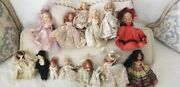 Vintage Nancy Ann Storybook Doll Collection 13. Including Bride Groom And Baby.