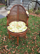 Vintage French Country Louis Xv Style Swivel Vanity Chair Cane Back Boudoir