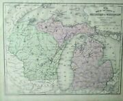 Antique Map Michigan And Wisconsin And U.p. 1852 Mitchell's Maps
