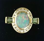 Opal Diamond And Green Tourmaline 14k Yg 1 Of A Kind Ring By Bagley And Hotchkiss