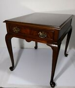 Vintage Drexel Heritage 18th Century End Table Mahogany Wood Queen Anne Legs