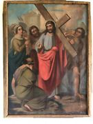 Antique 18th Century Italian School Stations Of The Cross Oil On Canvas Painting
