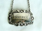 Hallmarked Silver And039whiskeyand039 Decanter Label With Chain