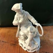 Antique Meissen Boy With Hoop And Dog White Porcelain Figure 1890's