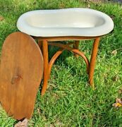 Vintage French Bidet - Baby Bath, Planter, Etc. - With Bentwood Stand And Cover