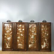 18and039and039 Chinese Antique Wood Screen Natural Yellow Rosewood Screen Flower Bird
