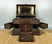 12and039and039 Chinese Antique Wood Box Natural Old Mahogany Box Jewelry Box Mirror