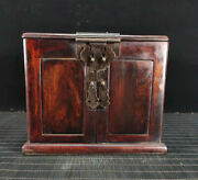 12.4and039and039 Chinese Antique Wood Box Natural Old Mahogany Box Jewelry Box Mirror