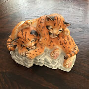 Nature's Young Played Out 1988 Lenox Porcelain Cougar Cubs Figurine