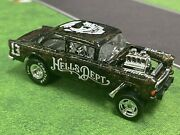 Hot Wheels Custom 55andrsquo Chevy Bel Air Gasser Hells Dept Black Gold Patched