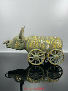10.2 Antique Old China Bronze Gilt Rune Lucky Wealth Fengshui Ox Cart Statue