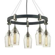 Dublin 5-light Old Silver And Brushed Nickel Pendant With Vintage Bulbs