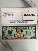 Rare 1996 10 Minnie Disney Dollars Disneyland A00246410a And Currency Envelope