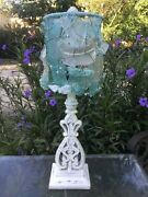 Lamp And Studio Artist Handmade Authentic Antique Sea Glass Bottle Shard Lampshade