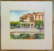 Pacifica Chai Henn - Framed Original Watercolor Painting Italy