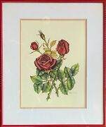 Pacifica Chai Henn - Framed Original Watercolor Painting Three Red Roses 4