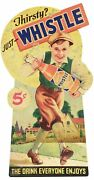 3 Whistle Soda Pop 5¢ Delivery Boy Runs Heavy Duty Usa Made Metal Adv Sign