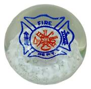 Millville Art Glass Controlled Bubble Red White Blue Fire Dept Logo Paperweight