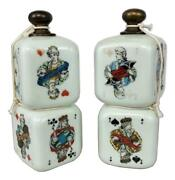 Antique Pair Victorian Milk Glass Playing Cards Gambling Dice Decanters Bottles