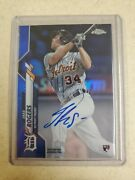 Jake Rogers 2020 Topps Chrome Rc Auto Blue Refractor 135/150 Detroit Tigers