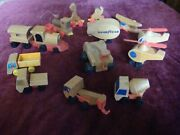 Lot Of 14 Wooden Toy Playthings - Helicopters, Trains, Trucks, Airplane, Others