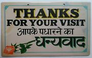 India Vintage Tin Sign Advertisement Board Original -thanks For Your Visit 3
