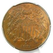 1872 Two Cent Coin 2c - Certified Pcgs Xf45 - Rare Key Date Coin - 1150 Value