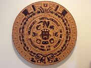 Vintage Large Hand Carved Wood Aztec Calendar Table Top Or Wall Art Mexico 33andrdquo