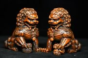 4.4and039and039 China Antique Wood Statue Natural Old Boxwood Animal Lion Sculpture