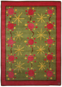 Scandinavian Style Rug 37 Green Pink And Yellow Hand Knotted Wool N0165