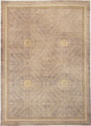 Samarkand Design Orchid Sandy Beige And Brown Chocolate Wool Rug N11611