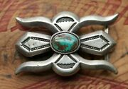 Vintage Begay Hand Made Sterling Silver Turquoise Native American Belt Buckle