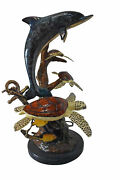 Dolphin With Three Turtles Bronze Statue Fountain - Size 23l X 22w X 35h.