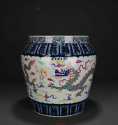 15.3 Antique Old China Porcelain Xuande Mark Famille Rose Dragon Play Bead Pot