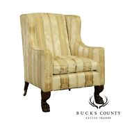 Antique 19th Century Empire Mahogany Claw Foot Library Chair