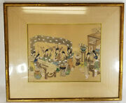 Unusual Antique Chinese Or Japanese Woodblock Print Woman Musicians Unsigned