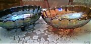2 Iridescent Carnival Glass Oval Bowls Indiana Blue And Marigold Harvest Grapes