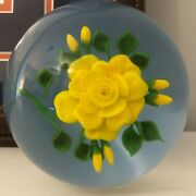 Victor Trabucco Yellow Rose Glass Paperweight