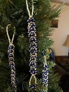 Blue Pearl And Silver Handmade Christmas Icicle Ornaments