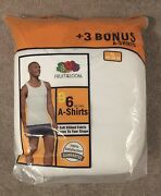 Fruit Of The Loom Menand039s 9-pack White 100 Cotton A-shirt Tanks X-large - New