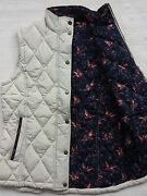 Barbour Tors Womenand039s Quilted Vest Insulated - Bird Print Pearl Us 6 /uk10 Rare