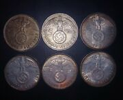 1937 Complete Set 6 Ww2 5 Mark German Silver 3rd Reich Patina Nice Tone