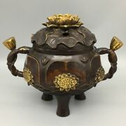 8 Antique Old China Bronze Gilt Three Foot Double Ear Lotus Incense Burners